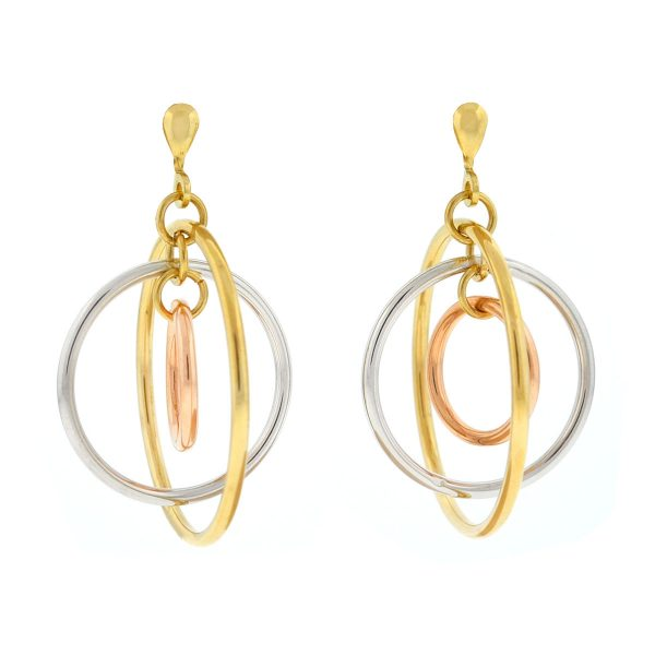 14k Yellow Gold Tri Color Circular Dangle Earrings