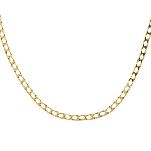 14k Rose Gold Square Curb Link Chain Necklace