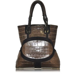 VBH Alligator Skin Brown Jumbo Tote Shopper Handbag