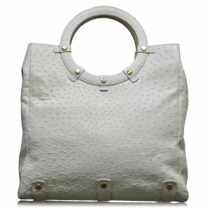 Authentic VBH Jumbo Ostrich Leather Off-White Handbag