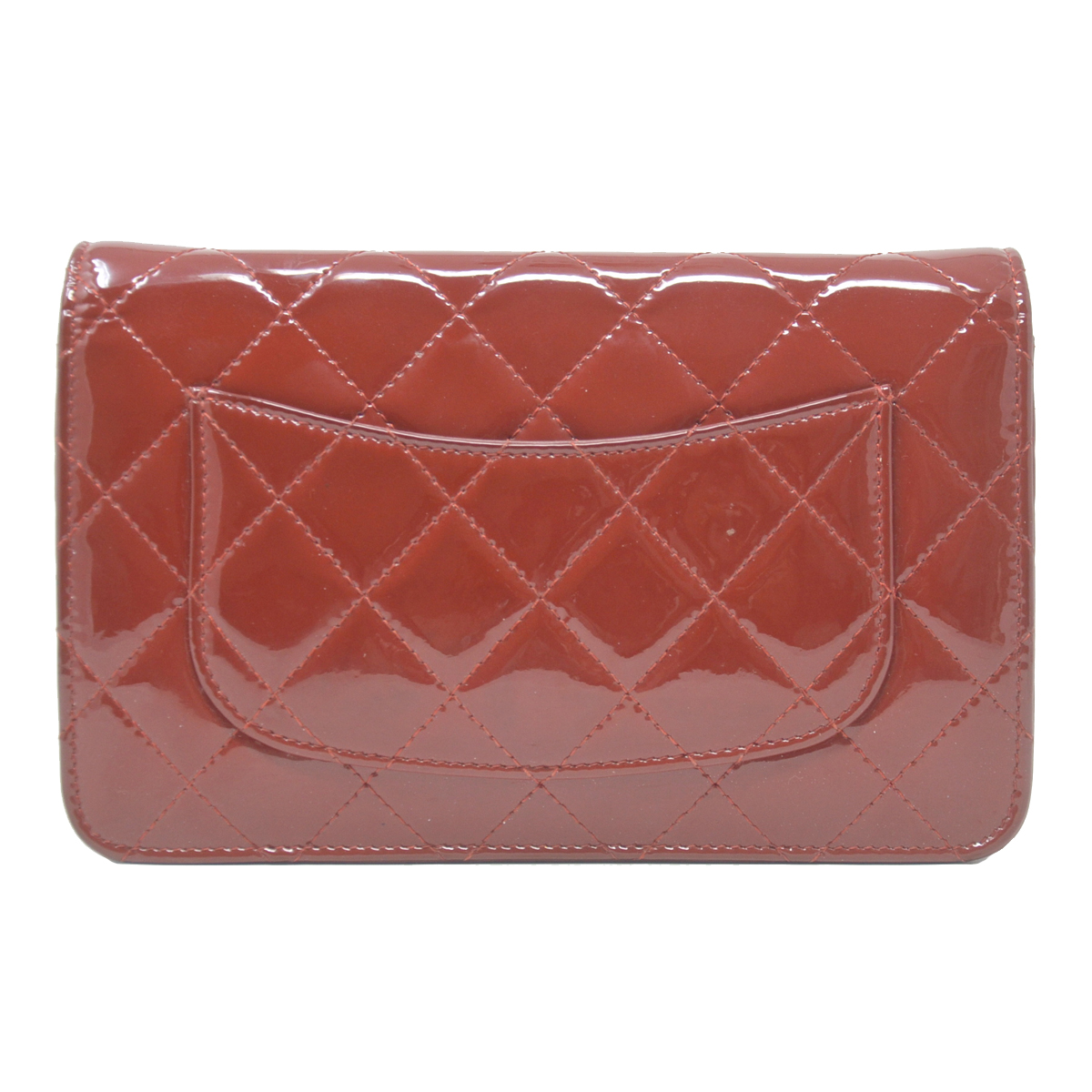 Chanel WOC Red Quilted Patent Leather Clutch Shoulder Bag