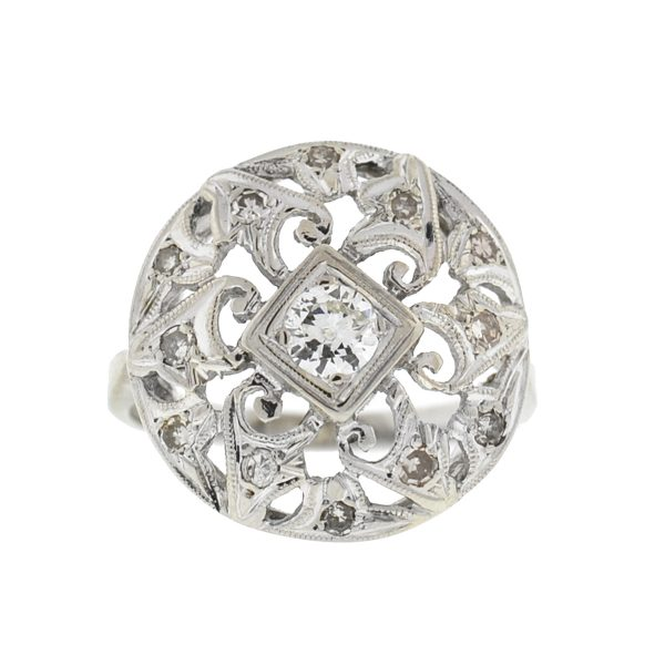 14k White Gold Vintage Round Diamond Ring