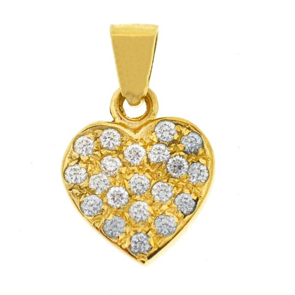 14k Yellow Gold Pave Diamond Heart Pendant