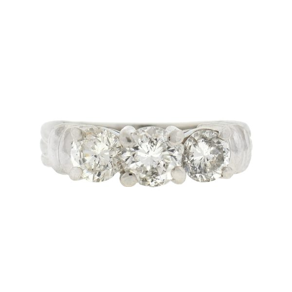 Platinum 3 Stone Diamond Engagement Ring Approx 1.65 TCW