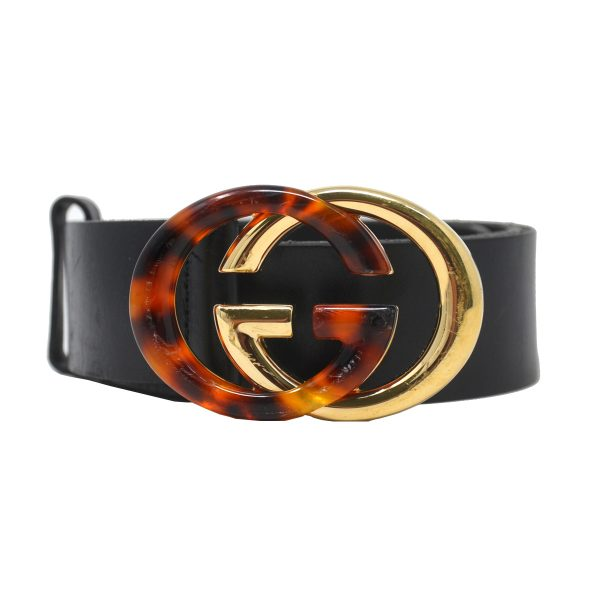 Gucci GG Interlocking Tortoise Gold Calfskin Brown Belt