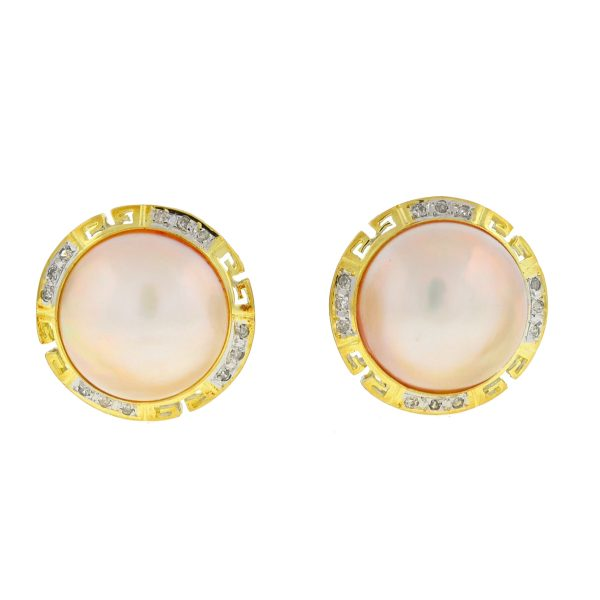 14k Yellow Gold Two Tone 5mm Pearl Diamond Earrings