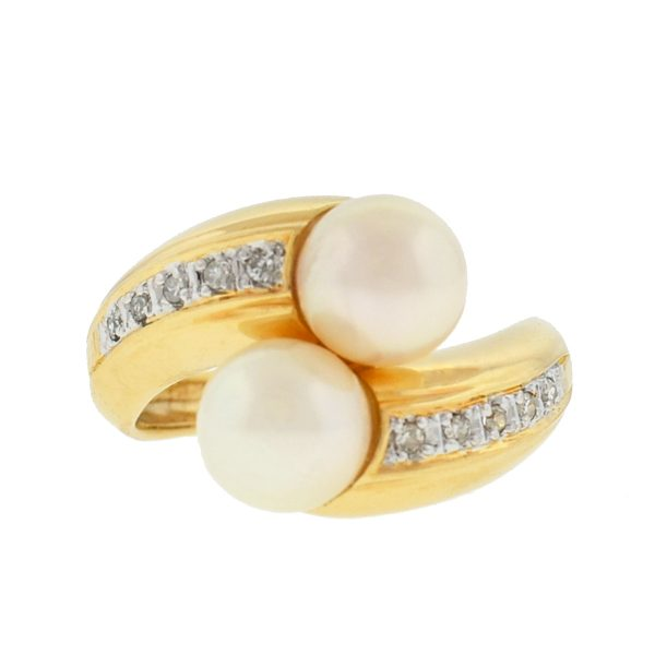 14k Yellow Gold Pearl Diamond Ring