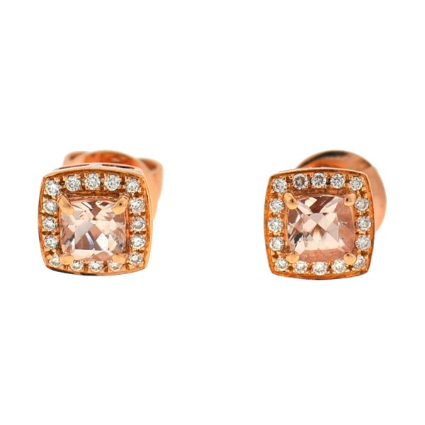 14k Rose Gold Morganite Square Stud Earrings Approx. 0.16 TCW