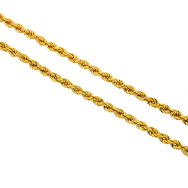 18k Yellow Gold Rope Style 5mm Chain Necklace