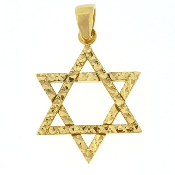 14k Yellow Gold Star of David Diamond Cut Pendant