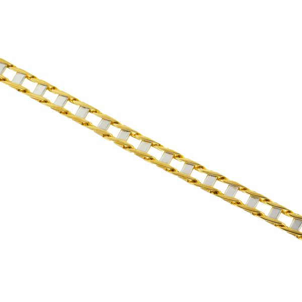 10k Yellow Gold Two Tone Railroad Style Men's Bracelets