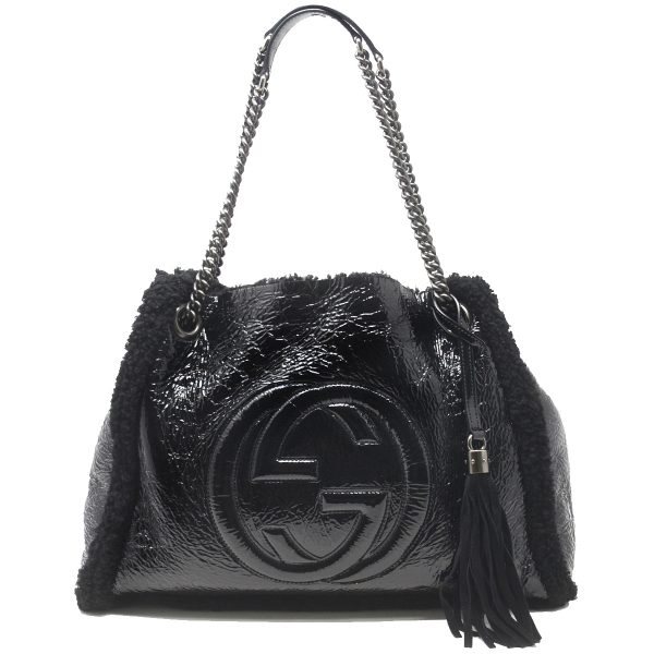 Gucci Soho Crushed Patent Leather Black Shoulder Bag