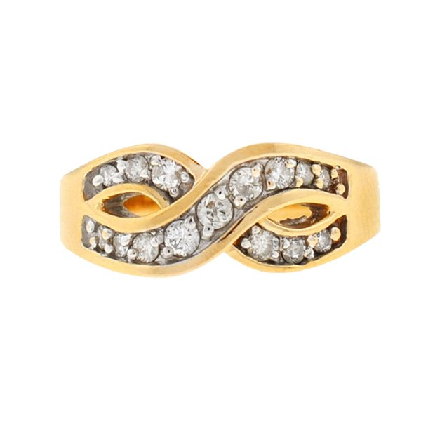 14k Yellow Gold Diamond Infinity Symbol Ring