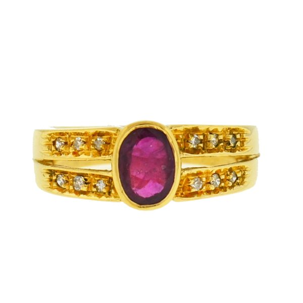 14k Yellow Gold Oval Ruby Diamond Ring