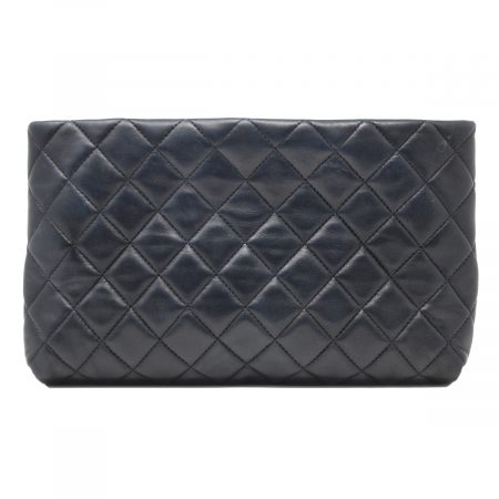 Chanel Kisslock Mini Square Black Quilted Lambskin Leather Clutch