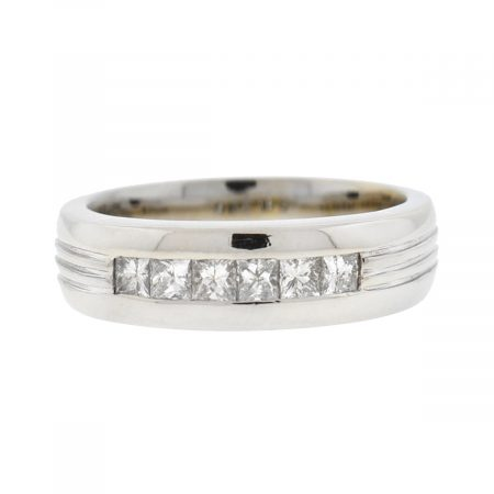 14k White Gold Princess Cut Diamond Men's Ring