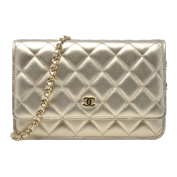 Chanel Metallic Gold WOC Quilted Lambskin Leather Clutch Shoulder Bag