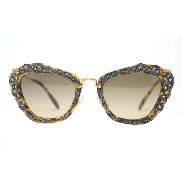 Miu Miu SMU 04Q Embellished Cat Eye Black Sunglasses