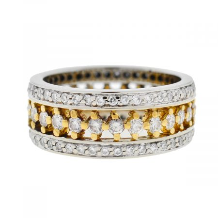 18k Two Tone Wide Diamond Band Ring Approx 1.65Cts