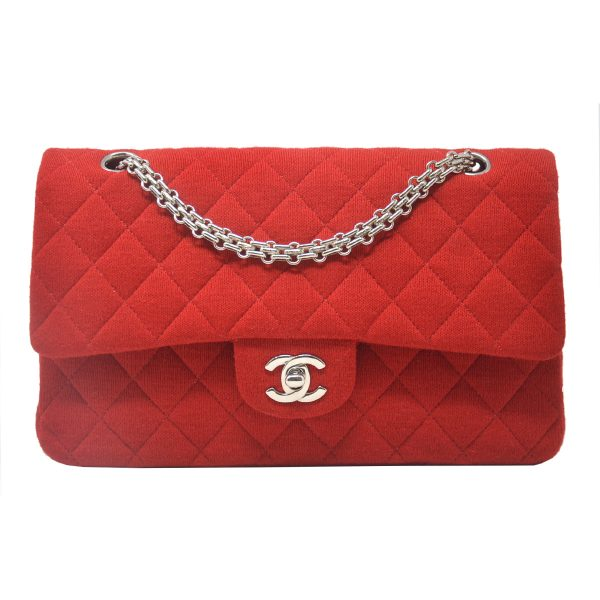 CHANEL Double Flap Quilted Medium Red Fabric Shoulder Bag