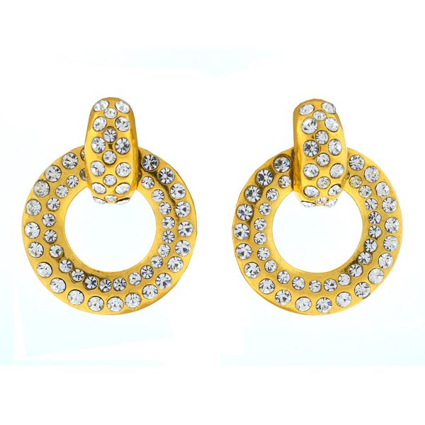 Chanel Gold Tone Crystal Drop Earrings