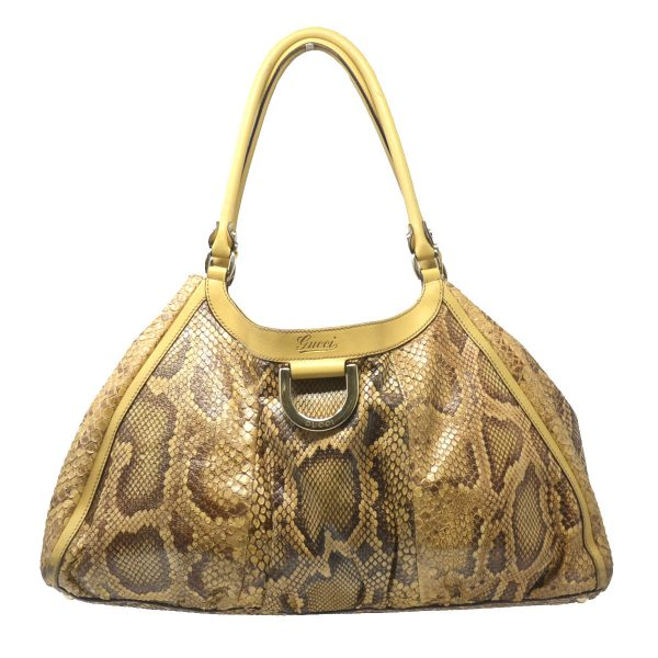 Gucci Python D-ring Beige Snakeskin Leather Hobo Bag
