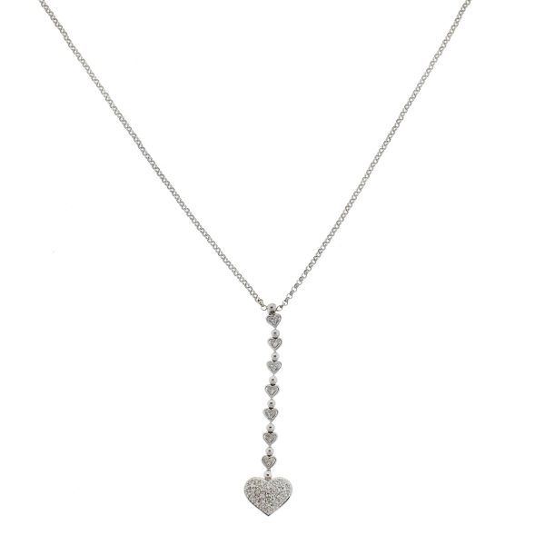 14k White Gold Diamond Heart Drop Necklace