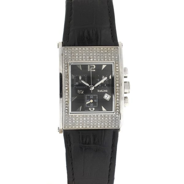 IceLink Avignon Pave Diamond Square Dial Quartz Men's Watch