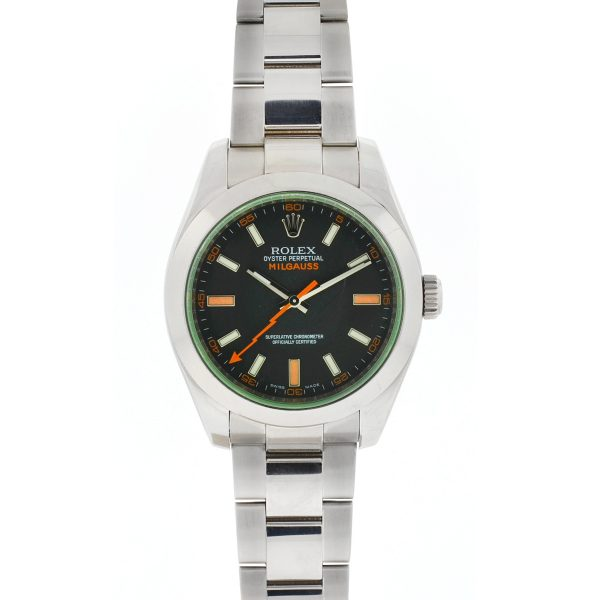 Rolex Milgauss Black Dial Green Crystal Stainless Steel Automatic Watch