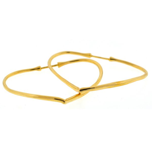 Tiffany & Co. Elsa Peretti 18k Yellow Gold Open Heart Hoop Earrings