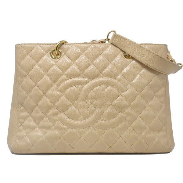 CHANEL Beige Grand Shopper Tote Caviar Leather Shoulder Bag