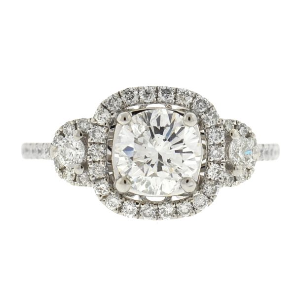 14K White Gold Round Brilliant SI3 Approx. G-H 1.01 Cts Diamond Engagement Ring