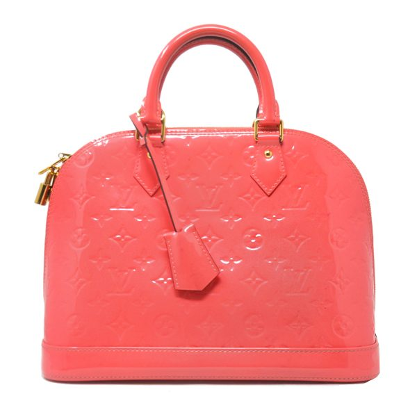 Louis Vuitton Alma MM Monogram Vernis Rose Litchi Pink Patent Leather Handbag