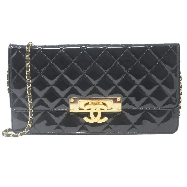 Chanel Golden Class Flap Large Patent Leather Black Crossbody Bag