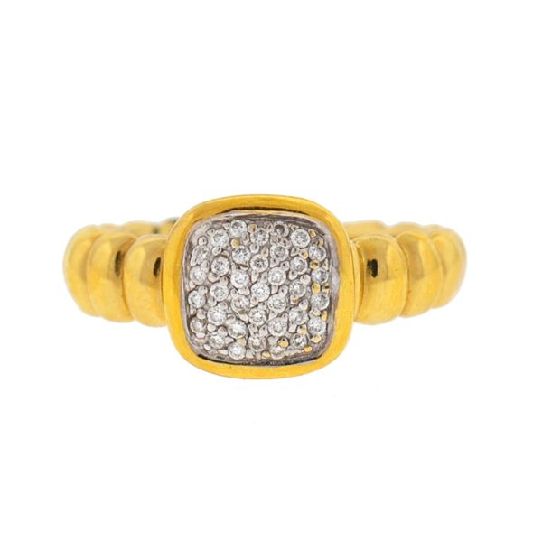 John Hardy 18k Yellow Gold Pave Diamond Ladies Ring