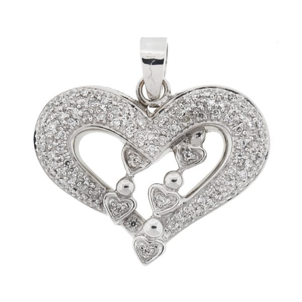 14k White Gold Diamond Heart Pendant Approx .25 Cts