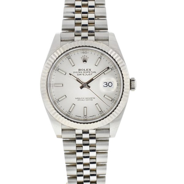 Rolex 126334 Datejust 41 Silver Dial White Gold Fluted Bezel Jubilee Watch