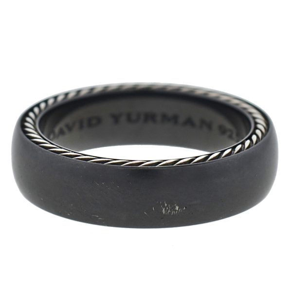 David Yurman Black Titanium Sterling Silver Streamline Band Ring
