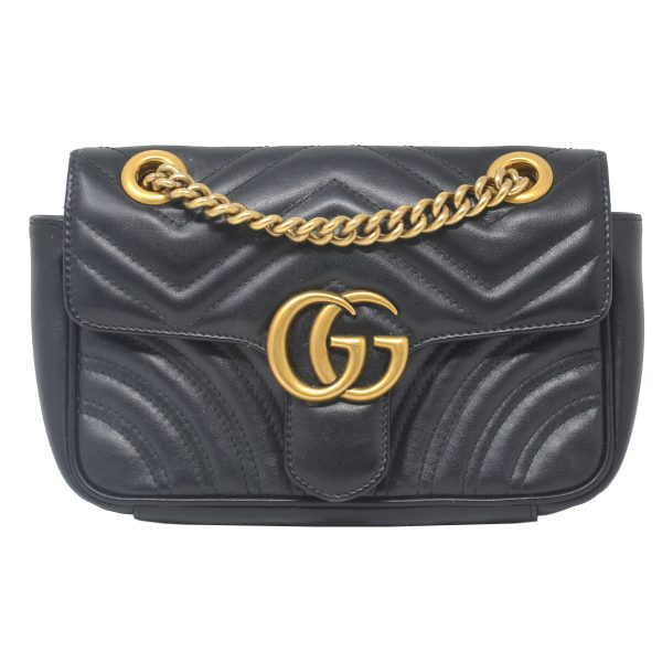 Gucci GG Marmont Mini Black Matelasse Shoulder Bag
