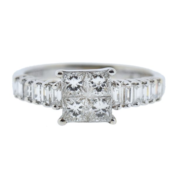 White Gold 18k Mosaic Diamond Ladies Ring