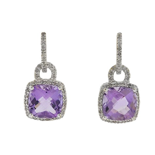 14k White Gold Diamond Amethyst Drop Earrings Approx .48 cts