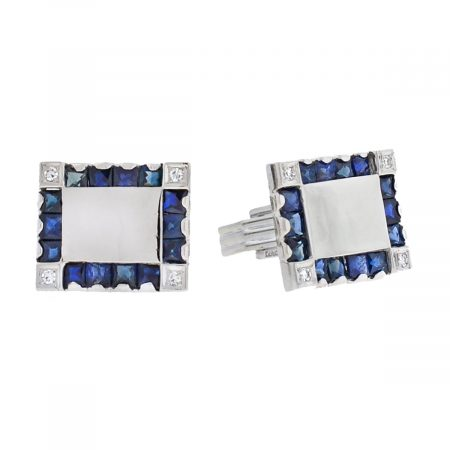 Lucien Piccard 14k White Gold Sapphire Diamond Square Cufflinks