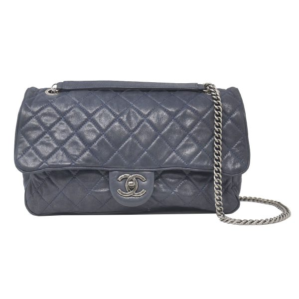 Chanel Navy Blue Soft Quilted Leather CC Single Flap Handbag