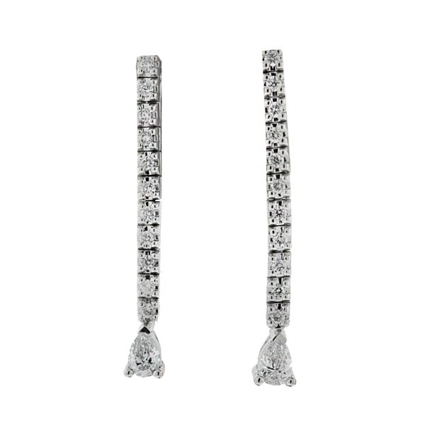 14k White Gold Tennis Style Diamond Dangle Earrings