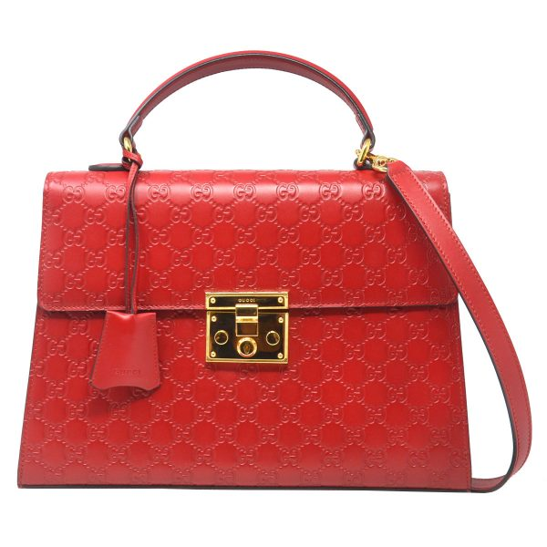 Gucci Guccissima Red GG Monogram Padlock Top Handle Handbag