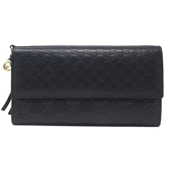 Gucci Guccissima GG Monogram Black Leather Long Womens Wallet
