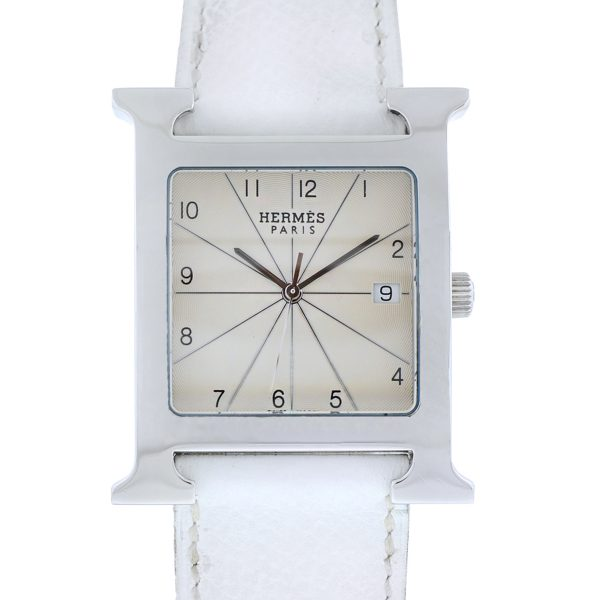 HERMÈS Stainless Steel Epson Leather Double-Wrap White Watch