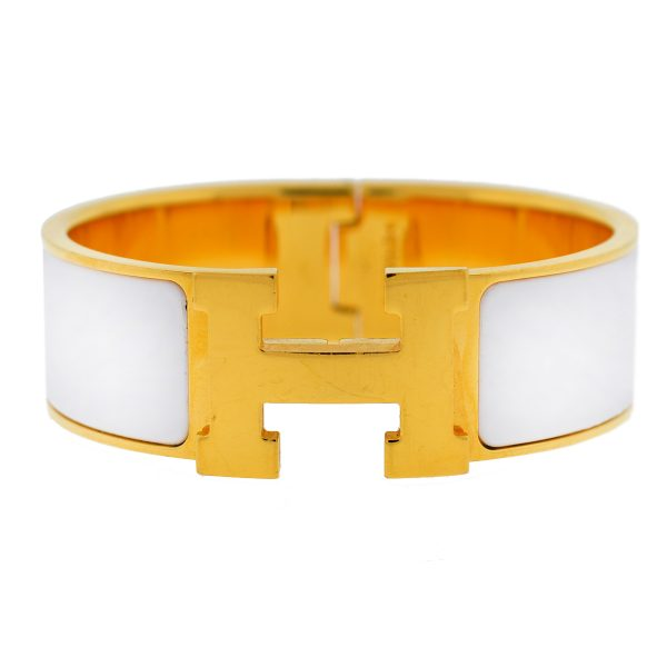 Hermès Clic Clac H Gold With White PM Bracelet