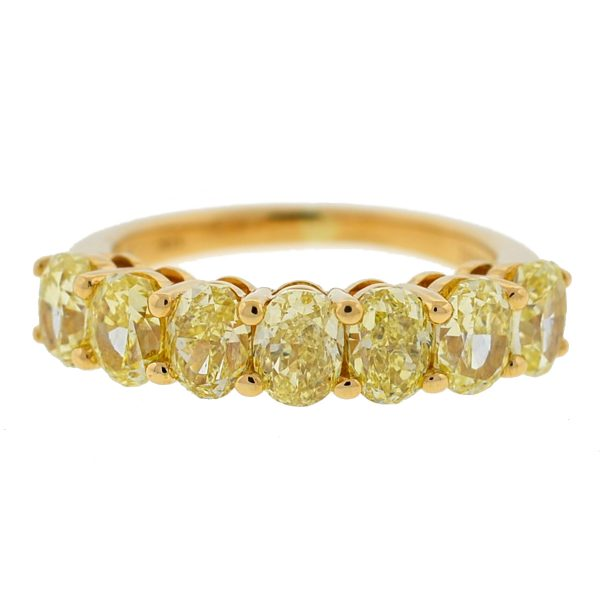 Leibish 18k Yellow Gold Fancy Yellow Oval Diamond Band Ring
