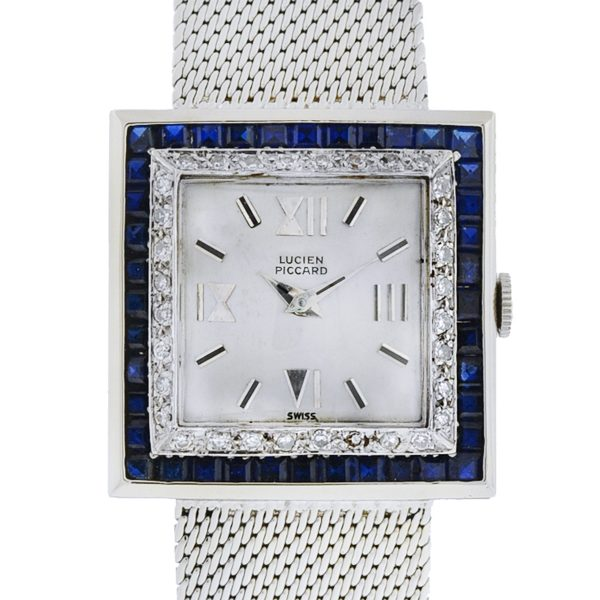 Lucien Piccard 14k White Gold Sapphire Diamond Square Watch